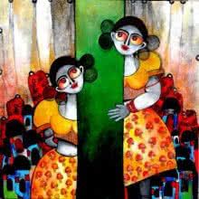 Sharmi Dey | Acrylic Painting title Connection on Canvas | Artist Sharmi Dey Gallery | ArtZolo.com