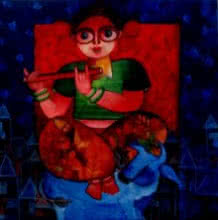 Figurative Acrylic Art Painting title 'TIANNA' by artist Sharmi Dey