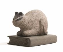 Basalt Stone Sculpture titled 'Cat 10' by artist Prashant Bangal