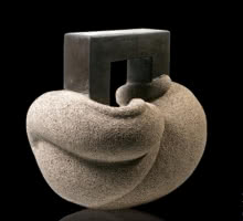 Basalt Stone Sculpture titled 'Cat 17' by artist Prashant Bangal