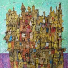 Cityscape Acrylic Art Painting title 'Untitled 5' by artist Biswajit Mondal