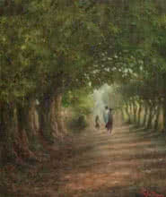 Landscape Oil Art Painting title 'Way to the village' by artist Biju Thomas