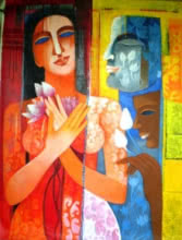 Figurative Acrylic Art Painting title 'Nautanki Series 8' by artist Chaitali Mukherjee