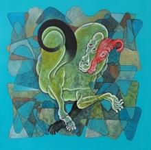 contemporary Acrylic-charcoal Art Painting title Bull Park 1 by artist Dharmendra Kumar