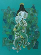 contemporary Acrylic-charcoal Art Painting title Children Park 1 by artist Dharmendra Kumar