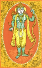 Religious Acrylic-pen Art Painting title 'Krishna Avatar From Dashavtaar Series 7' by artist Manisha Srivastava