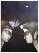 Figurative Oil Art Painting title 'You And Me I' by artist Manoj Muneshwar