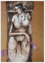 Figurative Oil Art Painting title 'The Woman Figure' by artist Manoj Muneshwar