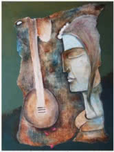 Manoj Muneshwar | Oil Painting title Play Veena on Canvas | Artist Manoj Muneshwar Gallery | ArtZolo.com