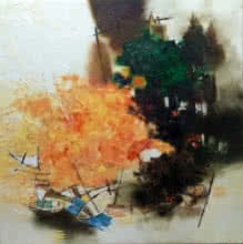 Anand Narain | Oil Painting title Banaras 37 on Canvas | Artist Anand Narain Gallery | ArtZolo.com