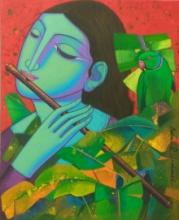 Religious Acrylic Art Painting title 'Radha' by artist Prakash Deshmukh
