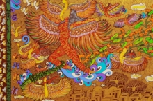 Fantasy Mixed-media Art Painting title 'Flying Divine' by artist Seema Kohli