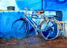 Transportation Watercolor Art Painting title 'Bicycle By The Blue Wall' by artist Ramesh Jhawar