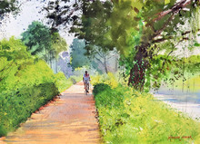 Cityscape Watercolor Art Painting title Crossing The Woods by artist Ramesh Jhawar