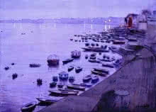 Ramesh Jhawar | Watercolor Painting title Dusk In Varanasi on Paper | Artist Ramesh Jhawar Gallery | ArtZolo.com