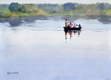 Seascape Watercolor Art Painting title Ferrying On The Kaveri by artist Ramesh Jhawar