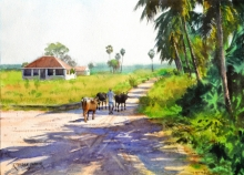 Landscape Watercolor Art Painting title 'Off To Graze' by artist Ramesh Jhawar