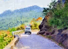 Landscape Watercolor Art Painting title 'On The Way To Kasauli' by artist Ramesh Jhawar