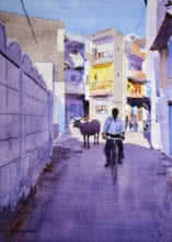 Cityscape Watercolor Art Painting title 'Riding Down The Bylanes' by artist Ramesh Jhawar