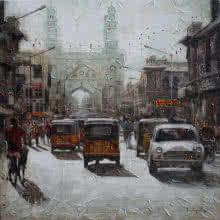 Cityscape Acrylic Art Painting title 'Charminar 1' by artist Iruvan Karunakaran