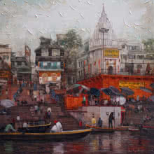 Cityscape Acrylic Art Painting title 'Varanasi 2' by artist Iruvan Karunakaran