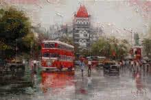 Iruvan Karunakaran | Acrylic Painting title Cityscape 1 on Canvas