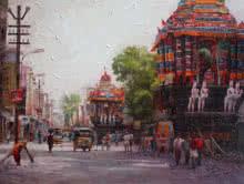Cityscape Acrylic Art Painting title 'Cityscape 4' by artist Iruvan Karunakaran