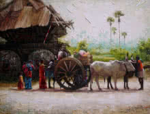 Figurative Acrylic Art Painting title 'Village 1' by artist Iruvan Karunakaran