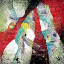 Abstract Mixed-media Art Painting title 'Dancing Feet' by artist Shirish Deshpande