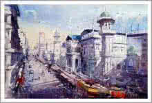 Cityscape Watercolor Art Painting title Izmir Turkey I by artist Amit Kapoor