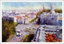 Cityscape Watercolor Art Painting title 'Izmir Turkey IV' by artist Amit Kapoor