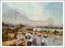 Howrah Bridge in Kolkata | Painting by artist Amit Kapoor | watercolor | Paper