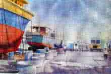 Vishakapatnam Port I | Painting by artist Amit Kapoor | watercolor | Paper