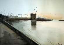 Arunava Ray | Watercolor Painting title Gateway Of India on Paper