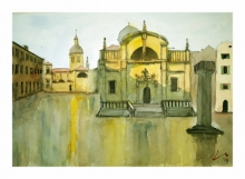 Cityscape Watercolor Art Painting title 'Luza Square Dubrovnik' by artist Arunava Ray