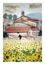 Cityscape Watercolor Art Painting title 'Sunflower At Tuscanny Italy' by artist Arunava Ray