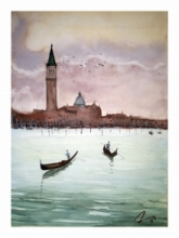 Cityscape Watercolor Art Painting title Venice Italy by artist Arunava Ray