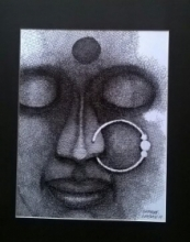 Figurative Pen-ink Art Drawing title 'Girl with nose ring' by artist SHANKAR KENDALE