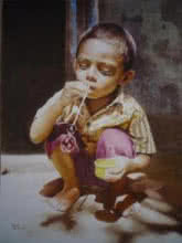 Figurative Watercolor Art Painting title 'Childhood 1' by artist Raghunath Sahoo