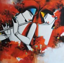 Figurative Acrylic Art Painting title Tune of love by artist Pradeesh K Raman