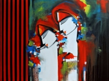 Figurative Acrylic Art Painting title Love song by artist Pradeesh K Raman