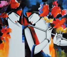Figurative Acrylic Art Painting title Loving couple by artist Pradeesh K Raman