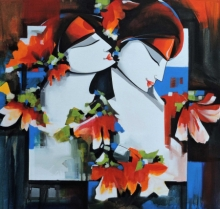 Figurative Acrylic Art Painting title Love by artist Pradeesh K Raman
