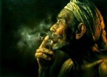 Portrait Oil Art Painting title 'Smoker' by artist Balwinder Singh