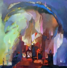 Cityscape Oil Art Painting title 'Structure 1' by artist Somenath Maity