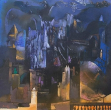 Cityscape Oil Art Painting title 'Structure 2' by artist Somenath Maity