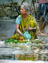 Lifestyle Watercolor Art Painting title 'Street seller old lady' by artist Dr Uday Bhan