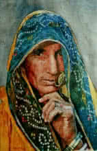 Folk Art Watercolor Art Painting title 'Veil Of A Softer Light ' by artist Dr.uday Bhan