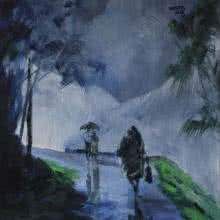 Mopasang Valath | Acrylic Painting title Walking In the Rain II on Canvas | Artist Mopasang Valath Gallery | ArtZolo.com