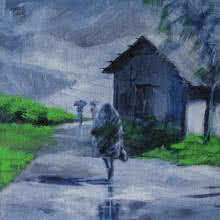 Scenic Acrylic Art Painting title 'Walking In The Rain I' by artist Mopasang Valath